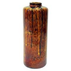 Vintage Large Amber Glazed Hungarian Floor Vase by Granit, 1960s