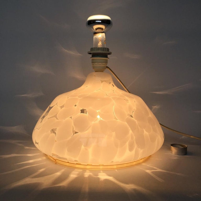 European Vintage Large Art Glass Table Lamp with Luminous Base For Sale