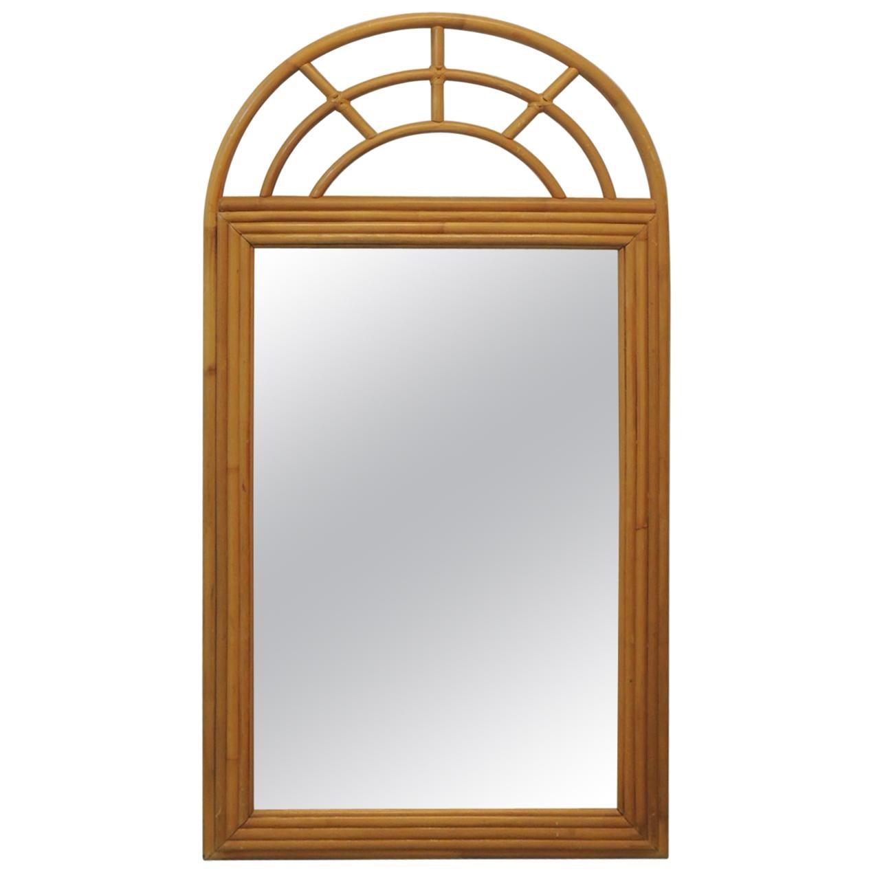 Vintage Large Bamboo Mirror