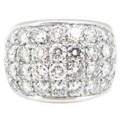 Vintage Large Band Diamonds Pave Dome Fashion White gold Ring