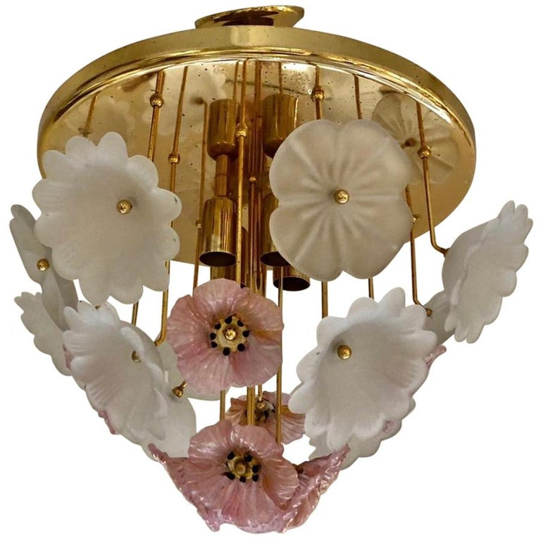 Vintage Large Barovier Murano Glass Flower Anemone Ceiling Light, Italy, 1970s For Sale