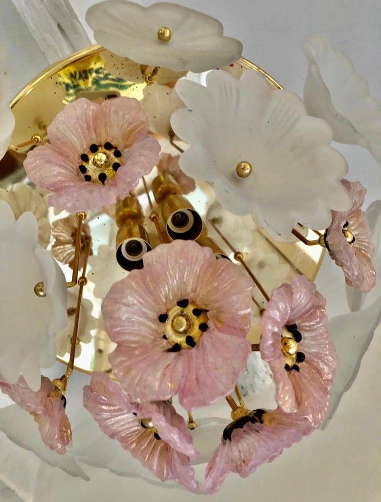 Vintage Large Barovier Murano Glass Flower Anemone Ceiling Light, Italy, 1970s In Good Condition For Sale In Paris, France