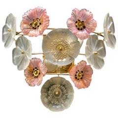 Vintage Large Barovier Murano Glass Flower Anemone Wall Light, Italy, 1970s