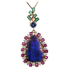 Vintage Large Black opal  Diamond Ruby 18K Gold Pendant