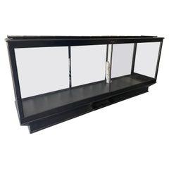 Vintage Large Black Stained Oak & Glass Shop Display Case/Cabinet