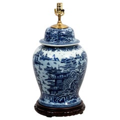 Vintage Large Blue and White Chinese Ginger Jar Lamp