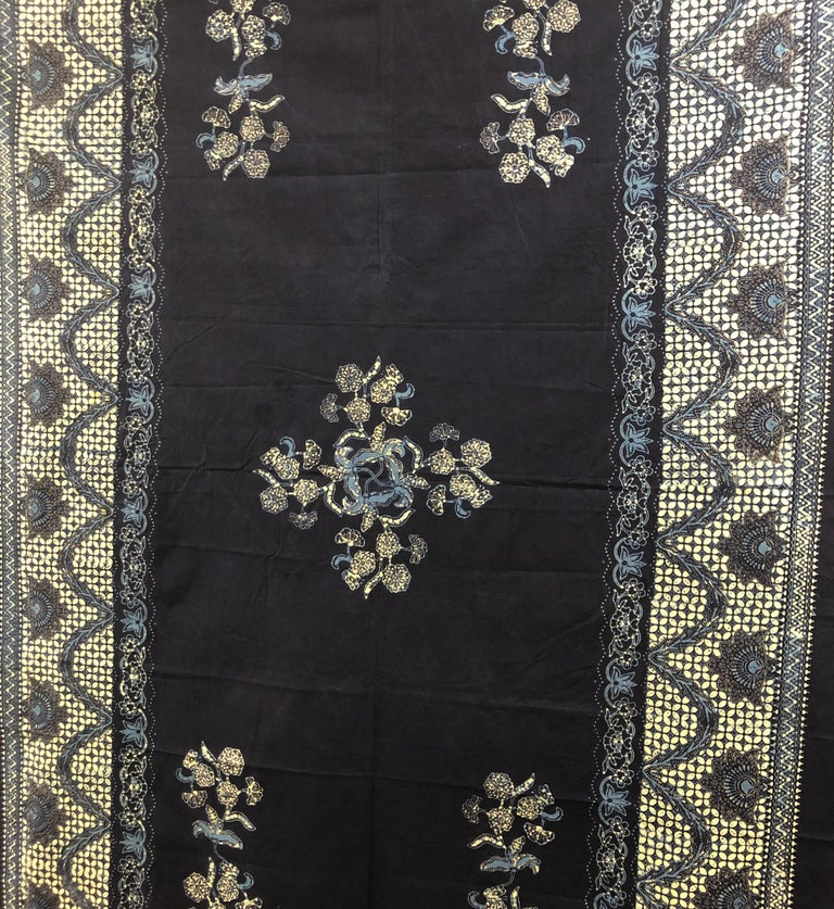 """Vintage large blue and white hand-blocked Indian batik textile. Ideal for pillows or upholstery, will make a great table cloth. Size 58"""" W x 70"""" L."""