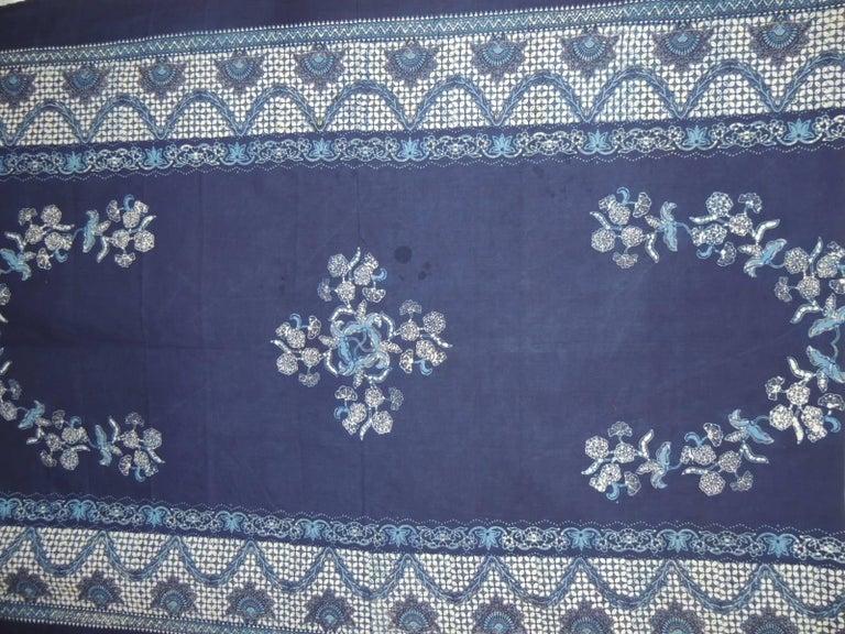 Moorish Vintage Large Blue and White Hand-Blocked Indian Batik Textile For Sale