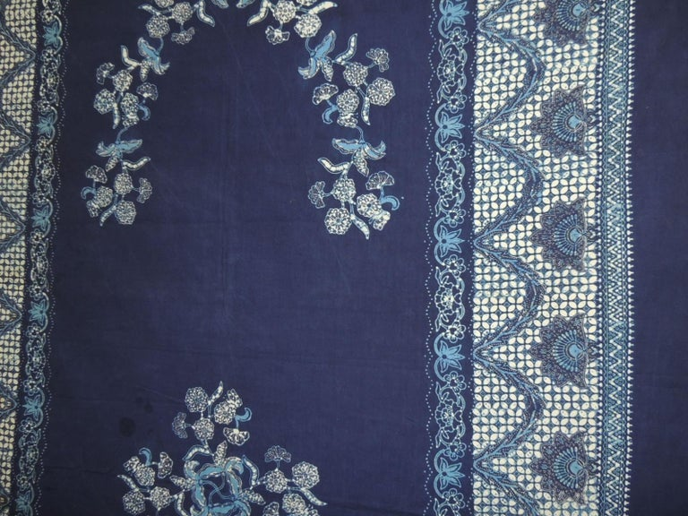 Hand-Crafted Vintage Large Blue and White Hand-Blocked Indian Batik Textile For Sale
