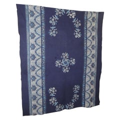 Vintage Large Blue and White Hand-Blocked Indian Batik Textile