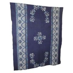 Vintage Large Blue and White Hand-Blocked Indian Batik Textile