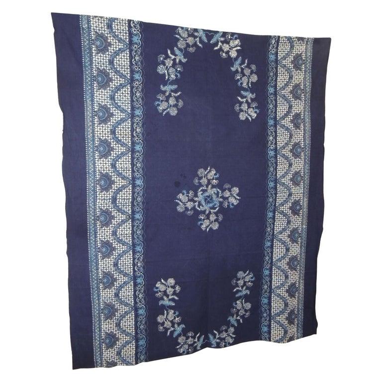 Vintage Large Blue and White Hand-Blocked Indian Batik Textile For Sale