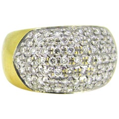 Vintage Large Bombe 1.60ct Diamonds Pavé Ring, 18kt Yellow and White Gold