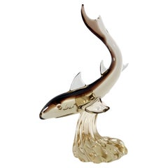 Vintage Large Brown and Amber Murano Glass Shark on a Wave Shaped Base, Italy