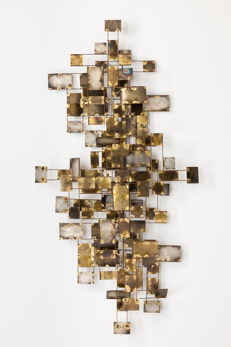 Vintage Large Brutalist Curtis Jere Brass 'Labyrinth' Wall Sculpture, C Jere For Sale 7
