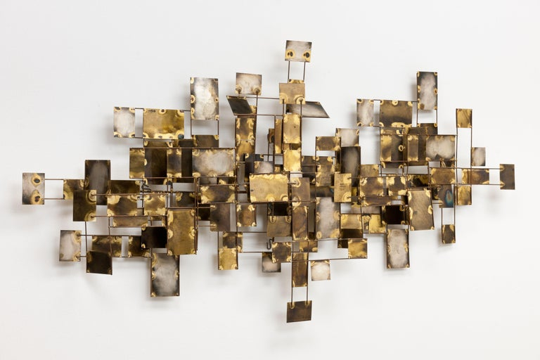"""Original large vintage Curtis Jere Brutalist style """"Labyrinth"""" abstract wall sculpture consisting of various metal brass elements with beautiful oxidised finishes by Artisan House. This large piece is setup to hang both horizontally and vertically"""