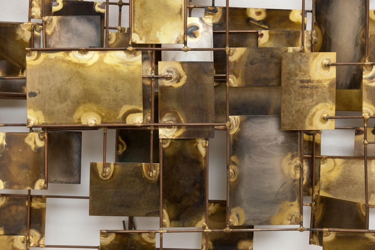 Vintage Large Brutalist Curtis Jere Brass 'Labyrinth' Wall Sculpture, C Jere In Good Condition For Sale In Utrecht, NL