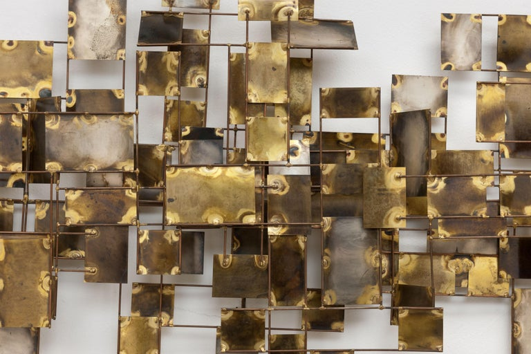 Late 20th Century Vintage Large Brutalist Curtis Jere Brass 'Labyrinth' Wall Sculpture, C Jere For Sale