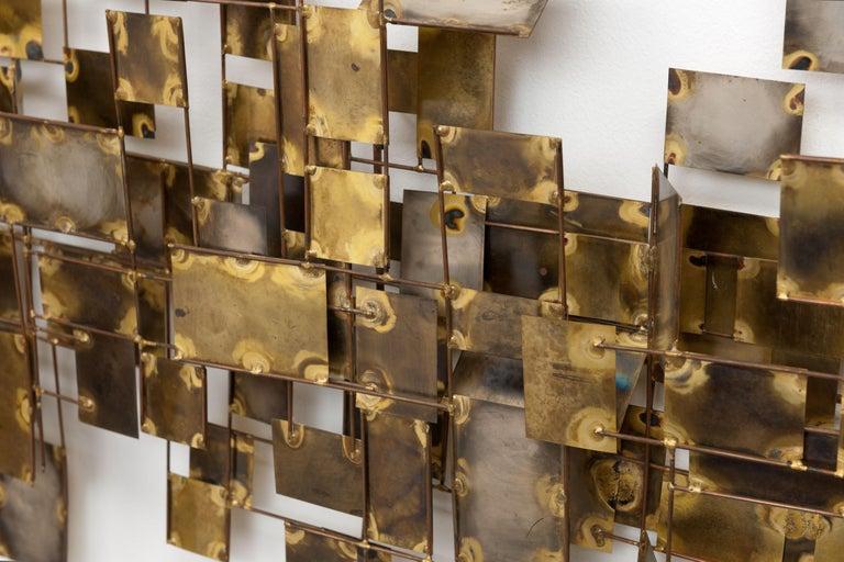 Vintage Large Brutalist Curtis Jere Brass 'Labyrinth' Wall Sculpture, C Jere For Sale 1