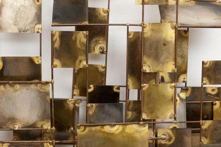 Vintage Large Brutalist Curtis Jere Brass 'Labyrinth' Wall Sculpture, C Jere For Sale 2