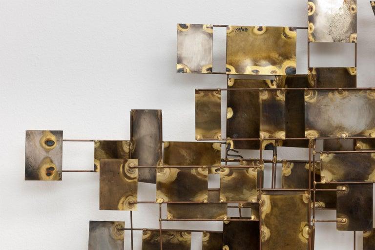 Vintage Large Brutalist Curtis Jere Brass 'Labyrinth' Wall Sculpture, C Jere For Sale 3