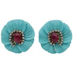 Vintage Large Carved Turquoise Flower Earrings Ruby Diamond Heart 18 Karat Gold