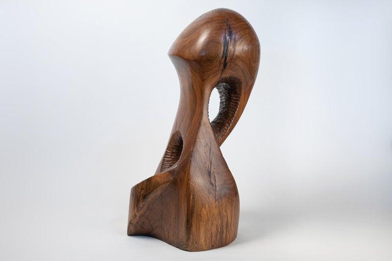 Vintage Large Carved Wood Abstract Sculpture Mid-Century Modern Brutalist For Sale 1