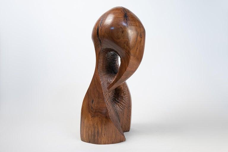 Vintage Large Carved Wood Abstract Sculpture Mid-Century Modern Brutalist For Sale 2