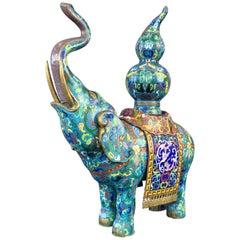 Vintage Large Chinese Brass & Copper Cloisonné Elephant Incense Holder