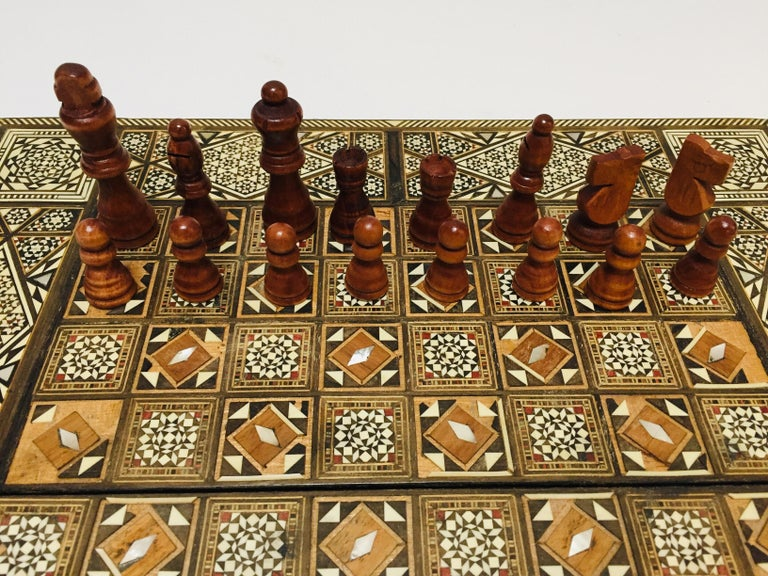 Vintage Large Complete Syrian Inlaid Mosaic Backgammon And