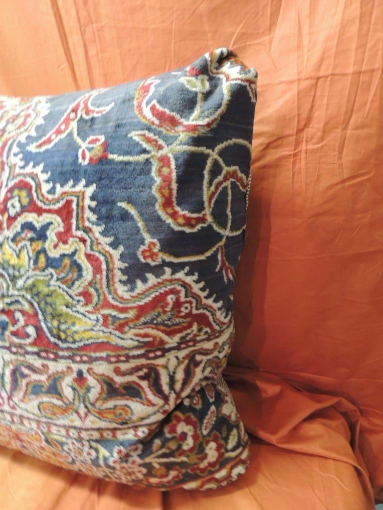 Vintage large heavy cotton velvet floral Turkish floor pillow with textured cotton/linen backing. Velcro closure. Turkish corners. Decorative pillow handcrafted and designed in the USA. Size: 27 x 27 x 8.
