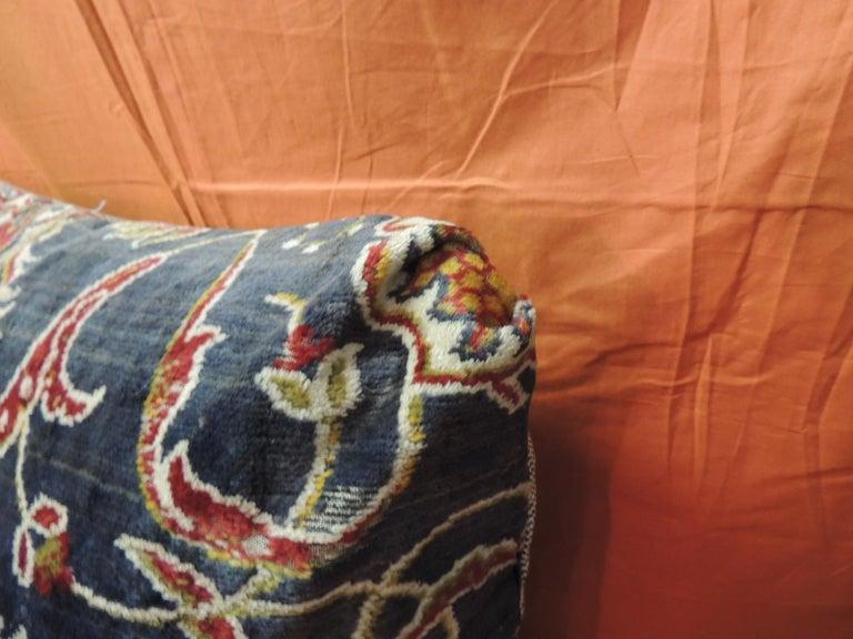 Bohemian Vintage Large Cotton Velvet Floral Turkish Floor Pillow #1 For Sale