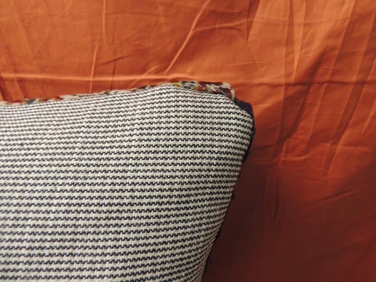 Hand-Crafted Vintage Large Cotton Velvet Floral Turkish Floor Pillow #1 For Sale