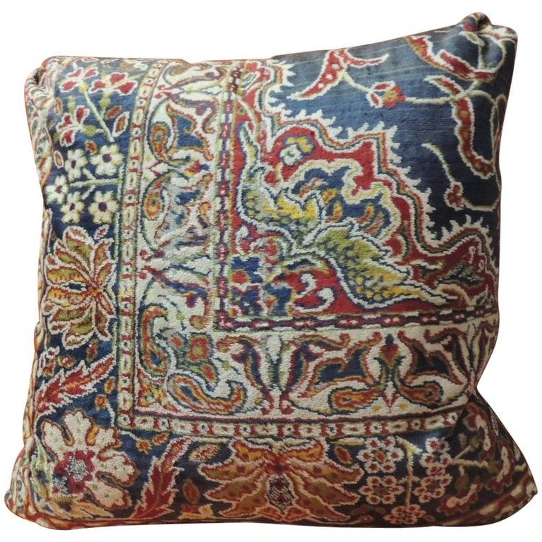 Vintage Large Cotton Velvet Floral Turkish Floor Pillow #1 For Sale