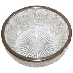 Vintage Large Crystal Bowl with Silver Plated Rim