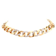 Vintage Large Diamond Curb Link 18 Karat Choker Necklace
