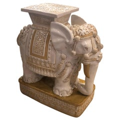 Vintage Large Elephant Garden Stool Stand Side Table