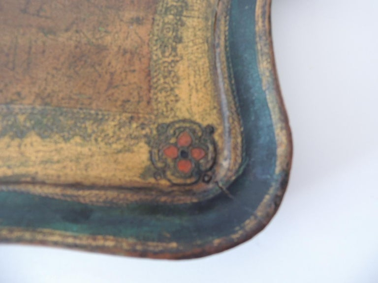Italian Vintage Large Emerald Green Florentine Tray with Handles For Sale