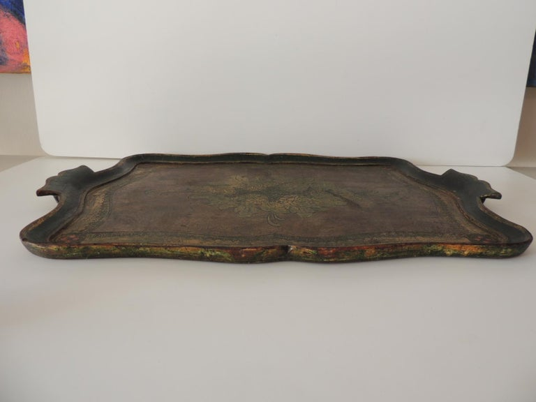 Hand-Crafted Vintage Large Emerald Green Florentine Tray with Handles For Sale