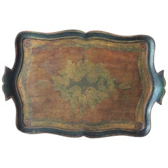 Vintage Large Emerald Green Florentine Tray with Handles