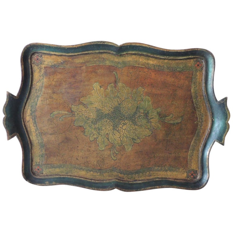 Vintage Large Emerald Green Florentine Tray with Handles For Sale