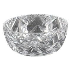 Vintage Large English Crystal Cut Glass Bowl Midcentury