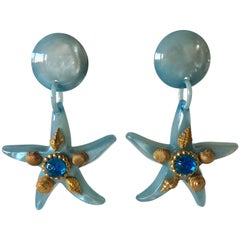Vintage Large French Blue Starfish Statement Earrings