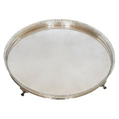 Vintage Large French Pierced Silver Plate Serving Tray, Paris, 1940s