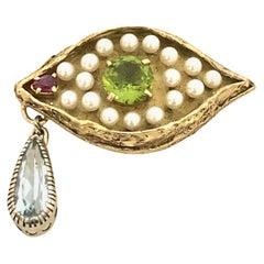 """Vintage Large Gold and Gem Set """"Eye"""" Pendant in the Manner of Salvador Dali"""