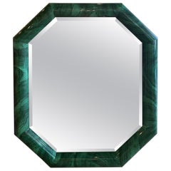 Vintage Large Green Faux Malachite Wall Mirror Vertical or Horizontal Octagon