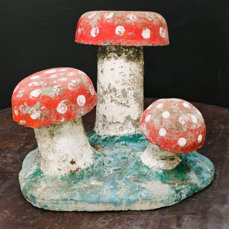 Charming, small hand-painted concrete toadstool garden sculpture. Two available and are priced individually at $650 each.