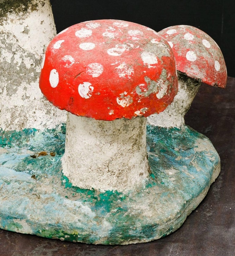 Mid-20th Century Vintage, Large Hand-Painted Concrete Toadstool Garden Sculpture For Sale