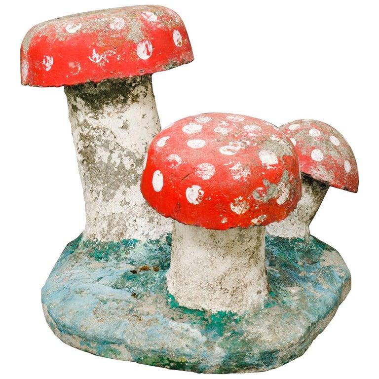 Vintage, Large Hand-Painted Concrete Toadstool Garden Sculpture For Sale
