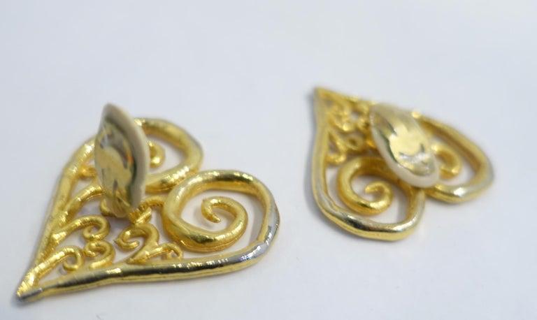 Women's Vintage Large Heart Earrings For Sale